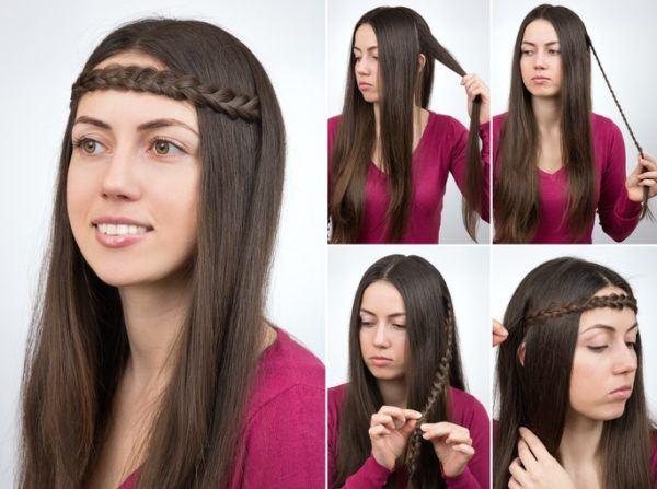Peinados hippies trenza cruzada