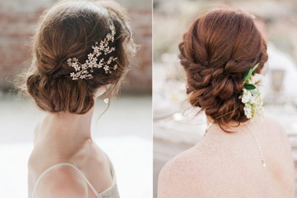 peinados de boda recogidos bajos con detalles brillantes - Recogidos De Novia Bajos