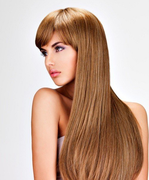 Peinados pelo largo mujer flequillo