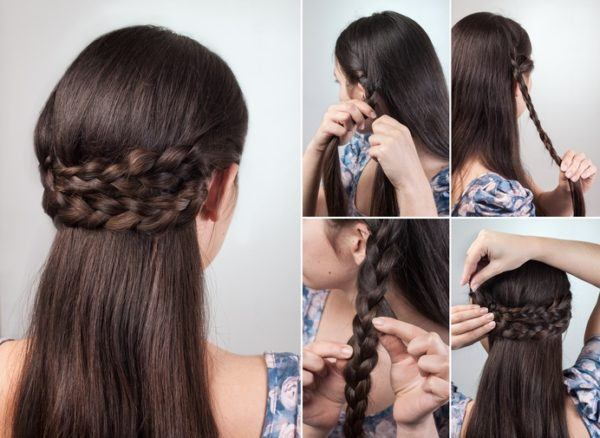 Peinados semirecogidos doble trenza